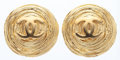 "Luxury Accessories:Accessories, Chanel Gold CC Earrings. Very Good Condition. 1.5"" Widthx 1.5"" Length. ..."