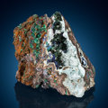 Minerals:Small Cabinet, Chalcoalumite, Azurite & Malachite. Bisbee, Warren District, Mule Mts, Cochise Co., Arizona, USA. ...