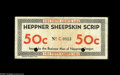 Miscellaneous:Other, Heppner, OR- Heppner Sheepskin Scrip 50¢ Dec. 31, 1934. This is a later issue that was printed on paper. Fine-Very Fine,...