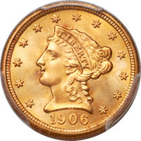 1906 $2 1/2 MS68 PCGS Secure. CAC....(PCGS# 7858)