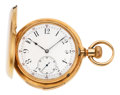 Timepieces:Pocket (pre 1900) , Ed. Richard Locle Gold Five Minute Repeater, circa 1890. ...
