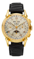"""Timepieces:Wristwatch, Le Phare """"De Luxe"""" Rare & Very Fine Three Register Chronograph With Calendar & Moon Phase, circa 1950's. ..."""