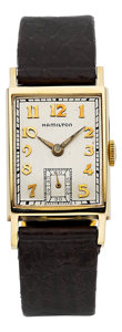 Timepieces:Wristwatch, Hamilton Choice 14k Gold Rectangular, circa 1940's. ...