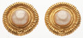 "Luxury Accessories:Accessories, Chanel Gold & Glass Pearl Earrings. Good Condition.1"" Width x 1"" Length. ..."