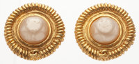 """Chanel Gold & Glass Pearl Earrings Good Condition 1"""" Width x 1"""" Length"""