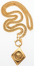 "Luxury Accessories:Accessories, Chanel Gold CC Diamond Shaped Necklace. Very Good Condition.1.5"" Width x 31"" Length. ..."