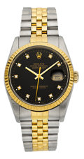 Timepieces:Wristwatch, Rolex Ref. 16233 Oyster Perpetual Datejust With Diamond Dial, circa 1991. ...