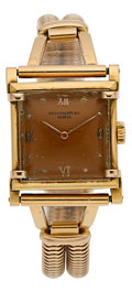 Timepieces:Wristwatch, Patek Philippe Unusual Square Rose Gold Wristwatch, circa 1940. ...