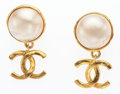 """Luxury Accessories:Accessories, Chanel Gold & Glass Pearl CC Earrings. Good Condition. 1""""Width x 1.5"""" Length. ..."""