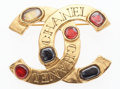 "Luxury Accessories:Accessories, Chanel Gold CC Brooch with Red & Black Cabochons. Very GoodCondition. 2"" Width x 1.5"" Height. ..."