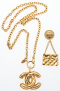 "Luxury Accessories:Accessories, Chanel Set of Two; Gold Quilted CC Necklace and Quilted Flap Bag Brooch. Very Good Condition. Necklace: 1.5"" Width x 29"" L... (Total: 2 )"