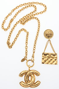 """Chanel Set of Two; Gold Quilted CC Necklace and Quilted Flap Bag Brooch Very Good Condition Necklace: 1.5"""" W"""