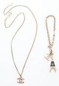 Luxury Accessories:Accessories, Chanel Set of Two; Gold, Black Enamel & Crystal Eiffel TowerCharm Bracelet and CC Gold & Crystal Necklace. Very GoodCond...