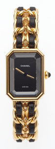 "Luxury Accessories:Accessories, Chanel Premiere Ladies Watch with Classic Gold Chain & BlackLeather Strap. Good Condition. .5"" Width x 6.5"" Length,S..."
