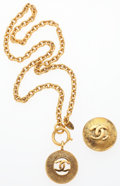 """Luxury Accessories:Accessories, Chanel Set of Two; Gold CC Necklace & Brooch . Very Good Condition. Necklace: 1"""" Width x 1"""" Length. Brooch: 1"""" Wid... (Total: 2 )"""
