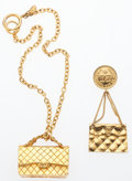 "Luxury Accessories:Accessories, Chanel Set of Two; Gold Quilted Flap Bag Brooch and Necklace.Very Good Condition. Necklace: 1.5"" Width x 15"" Length. Broo...(Total: 2 )"