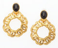 "Luxury Accessories:Accessories, Chanel Black Cabochon & Gold CC Earrings . Very Good toExcellent Condition. 1.5"" Width x 1.5"" Height. ..."