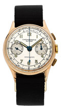 Timepieces:Wristwatch, Swiss 18k Gold Chronograph. ...