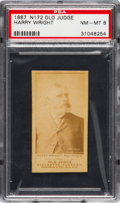 Baseball Cards:Singles (Pre-1930), 1887 N172 Old Judge Harry Wright, Phila's, Portrait/Looking Right(#510-1a) PSA NM-MT 8. ...