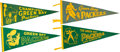 Football Collectibles:Others, 1950s and 1960s Green Bay Packers Pennants Lot of 4....