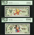 Miscellaneous:Other, Disney Dollar $1 2000 Rodgers R-065;. Disney Dollar $5 2000 RodgersR-066.. ... (Total: 2 notes)