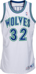 Basketball Collectibles:Uniforms, 1992-93 Christian Laettner Game Worn, Signed Minnesota TimberwolvesJersey....