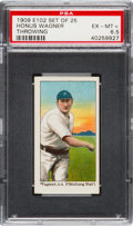 """Baseball Cards:Singles (Pre-1930), Very Rare 1910 E102 """"Set of 25"""" Honus Wagner, Throwing PSA EX-MT 6.5 - The Finest Recorded Example! ..."""