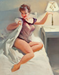 Pin-up and Glamour Art, Gil Elvgren (American, 1914-1980). Bedtime, Brown & Bigelowcalendar illustration preliminary. Oil on canvas. 30 x 23 in...
