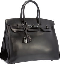 Hermes Limited Edition 35cm So Black Calf Box Leather Birkin Bag with PVD Hardware Excellent to Pristine Condit