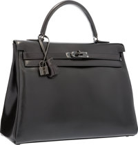 Hermes Limited Edition 35cm So Black Calf Box Leather Retourne Kelly Bag with PVD Hardware Excellent to Pristin