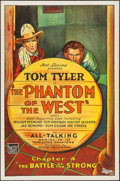 "Movie Posters:Serial, The Phantom of the West (Mascot, 1931). One Sheet (27"" X 41"")Chapter 4 -- ""The Battle of the Strong."" Serial.. ..."