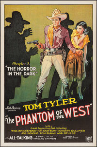"""The Phantom of the West (Mascot, 1931). One Sheet (27"""" X 41"""") Chapter 3 -- """"The Horror in the Dark.""""..."""