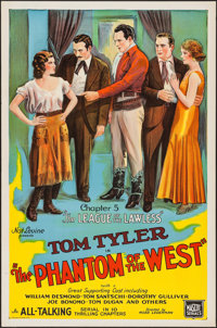 """The Phantom of the West (Mascot, 1931). One Sheet (27"""" X 41"""") Chapter 5 The League Of The Lawless."""" Seria..."""