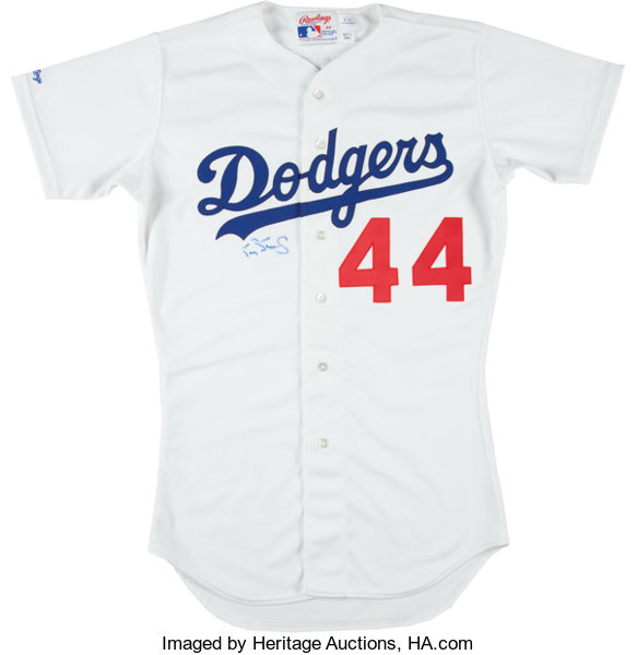 separation shoes f8050 3d3fc 1991 Darryl Strawberry Game Worn Los Angeles Dodgers Jersey ...