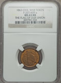 Civil War Tokens, 1863 Civil War Token, Flag of Our Union, F-207/409a, MS63 Red andBrown NGC....