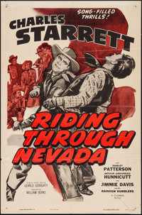 """Riding Through Nevada & Others Lot (Columbia, R-1955). One Sheet (27"""" X 41"""") & Lobby Cards (8)..."""