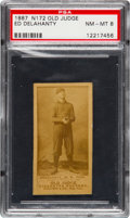 Baseball Cards:Singles (Pre-1930), 1887 N172 Old Judge Ed Delahanty (#123-3) PSA NM-MT 8 - The Finest Example on Record! ...