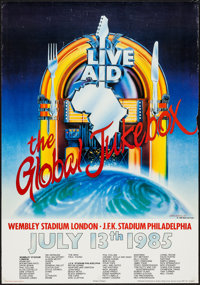 """Live Aid: The Global Jukebox (Orbis Communications, 1985). Concert Poster (23.25"""" X 34.5""""). Rock and Roll"""