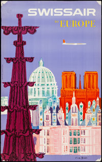 """SwissAir to Europe (SwissAir, Late 1950s). Airline Travel Poster (25.25"""" X 40""""). Miscellaneous"""