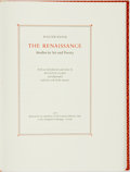 Books:Art & Architecture, Martino Mardersteig, book designer. SIGNED/LIMITED. Walter Pater. The Renaissance: Studies in Art and Poetry. Ve...