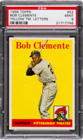 Baseball Cards:Singles (1950-1959), 1958 Topps Bob Clemente, Yellow Letters #52 PSA Mint 9 - NoneHigher. ...