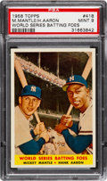"Baseball Cards:Singles (1950-1959), 1958 Topps Mantle/Aaron ""World Series Batting Foes"" #418 PSA Mint 9- None Higher. ..."