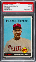 "Baseball Cards:Singles (1950-1959), 1958 Topps Pancho Herrera, Missing ""a"" Error #433 PSA Mint 9 - TheReigning Ultimate PSA Example! ..."