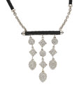 Estate Jewelry:Necklaces, Diamond, Colored Diamond, White Gold, Steel Necklace, Charriol. ...