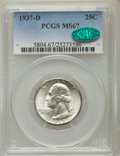 Washington Quarters, 1937-D 25C MS67 PCGS. CAC. PCGS Population (62/0). NGC Census:(25/0). Mintage: 7,189,600. Numismedia Wsl. Price for proble...