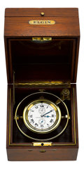 Timepieces:Other , Elgin Father Time 21 Jewel Freesprung Wind Indicator Ship Watch,circa 1911. ...