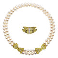 Estate Jewelry:Pearls, Cultured Pearl, Diamond, Gold Necklace, Judith Ripka. ...