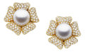 Estate Jewelry:Earrings, South Sea Cultured Pearl, Diamond, Gold Earrings, Asprey &Garrard. ...