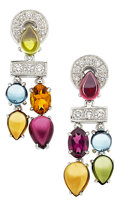 Estate Jewelry:Earrings, Multi-Stone, Diamond, White Gold Earrings, Bvlgari. ...