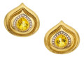 Estate Jewelry:Earrings, Diamond, Yellow Beryl, Gold Earrings, Elizabeth Gage. ...